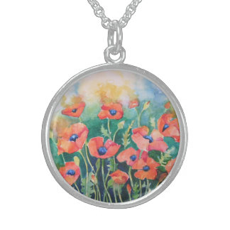 Vibrant Poppies Sterling Silver Necklace