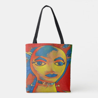 Vibrant Primary Colors Artistic Face Tote Bag
