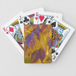 Vibrant Purple and Gold Autumn Leaves Bicycle Playing Cards
