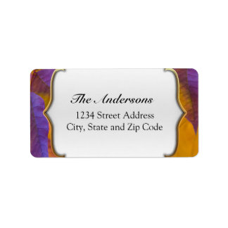 Vibrant Purple and Gold Fall Leaves Address Label
