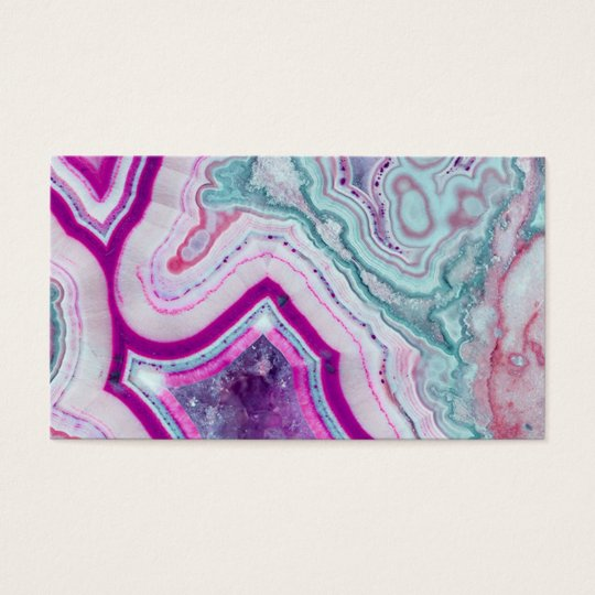Vibrant Purple and Teal Mineral Stone Business Card