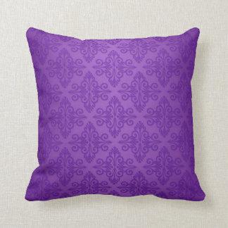 Vibrant Purple Damask Pattern Cushion