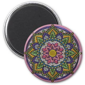 Vibrant Purple, Green, Pink Mandala Magnet