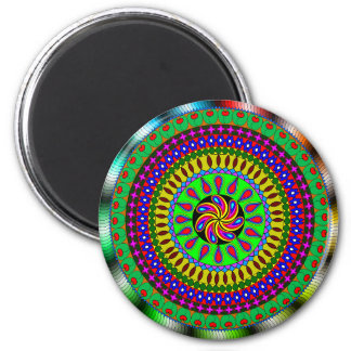 Vibrant Purple, Green, Red Mandala Magnet