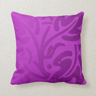 Vibrant Purple Leaf Pattern Throw Pillow