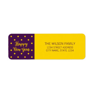 Vibrant Purple Polka Dot Happy New Year Address Return Address Label