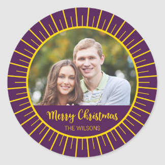 Vibrant Purple Starburst Merry Christmas Photo Classic Round Sticker