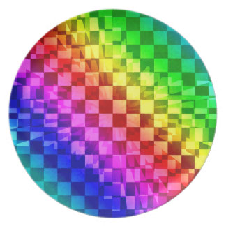 Vibrant rainbow checkerboard pattern plate