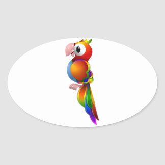 Vibrant Rainbow Colored Parrot Facing to the Side Oval Sticker