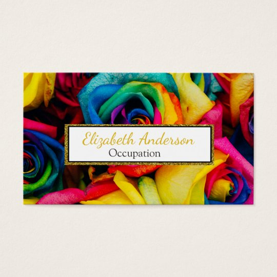 Vibrant Rainbow Colour Roses Professional Business Card