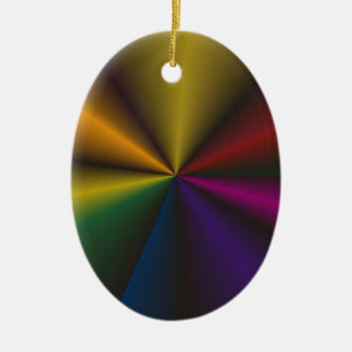 Vibrant Rainbow Contrasting Points 'N Cones Ceramic Oval Decoration