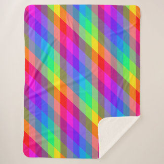 Vibrant Rainbow Prism Sherpa Blanket