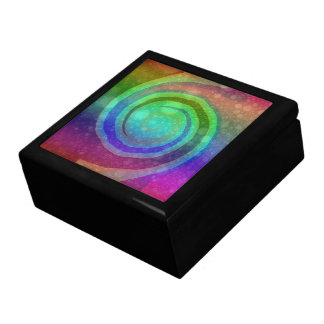 Vibrant Rainbow Swirl Abstract Art Tile Box Large Square Gift Box