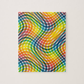 Vibrant Rainbow Twisted Plaid Pattern Jigsaw Puzzle
