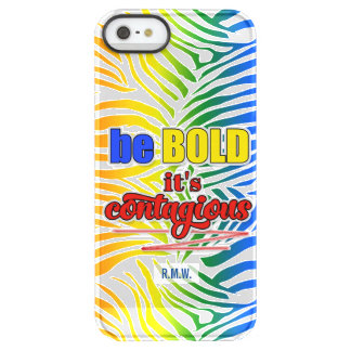 Vibrant Rainbow Zebra Print Be BOLD Message Permafrost® iPhone SE/5/5s Case