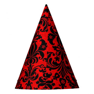 vibrant red and black baroque design party hat