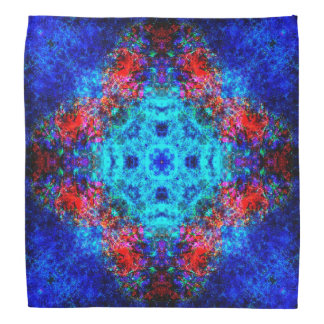 Vibrant red and blue mandala bandana