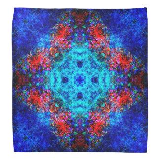 Vibrant red and blue mandala bandanna