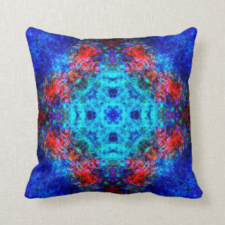 Vibrant red and blue mandala cushion