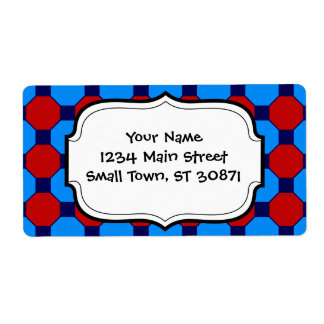 Vibrant Red and Blue Squares Hexagons Tile Pattern Shipping Label