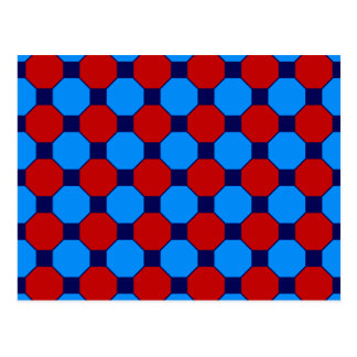 Vibrant Red and Blue Squares Hexagons Tile Pattern Post Card