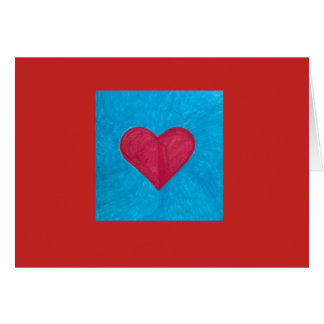Vibrant Red Heart on Blue Background in Red Field Card