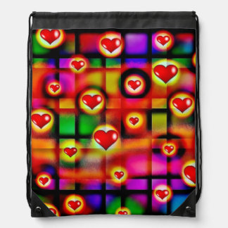 Vibrant Red Hearts Parade on Colorful Plaid Backpack