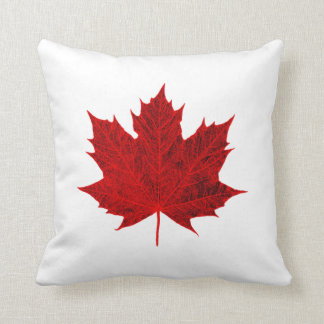 Vibrant Red Maple Leaf Cushion