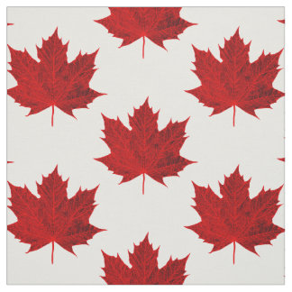 Vibrant Red Maple Leaf Design Fabric