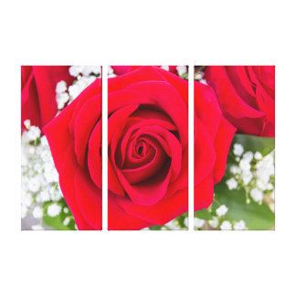Vibrant Red Rose Triptych Wall Art Canvas Print