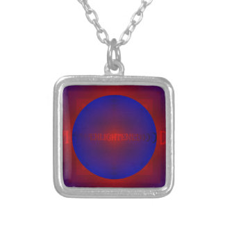 """Vibrant Red Royal Blue """"Enlightened"""" Pattern Square Pendant Necklace"""