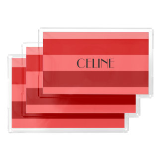 Vibrant Red Striped Pattern Personalized Name Acrylic Tray