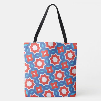 Vibrant red white blue pattern tote bag