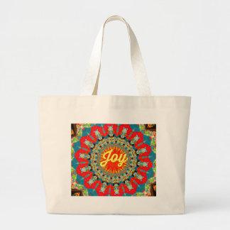 "Vibrant Red Yellow Kaleidoscope ""Joy"" Design Large Tote Bag"
