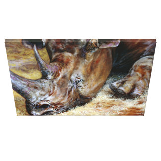 Vibrant Rhinoceros Oil Painting Photo Designed Art Canvas Print