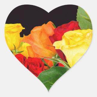 Vibrant Roses Black Background Heart Sticker