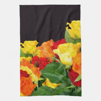 Vibrant Roses Black Background Tea Towel