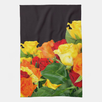 Vibrant Roses Black Background Towel