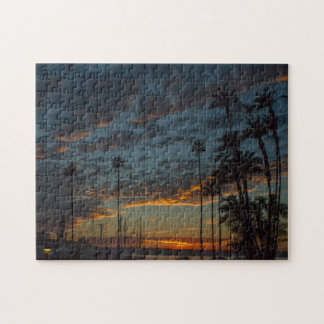 Vibrant San Diego Sunset with Palm Trees Jigsaw Puzzle