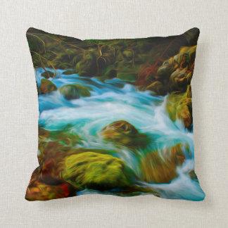 Vibrant Scenic Rapids Throw Pillow