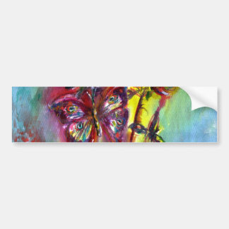 VIBRANT SPARKLING BUTTERFLIES IN BLUE,Teal Bumper Stickers