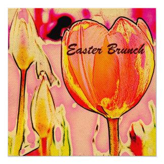 vibrant spring tulip Easter Brunch 5.25x5.25 Square Paper Invitation Card