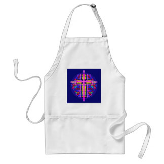 Vibrant Stained Glass Christian Cross. Apron