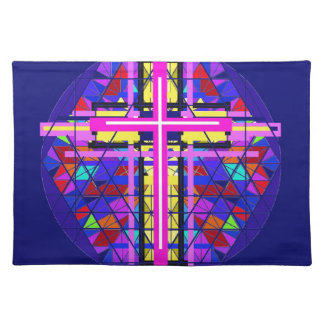 Vibrant Stained Glass Christian Cross. Placemat