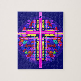 Vibrant Stained Glass Christian Cross. Puzzle