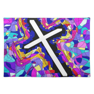 Vibrant Stained Glass Cross. Placemats