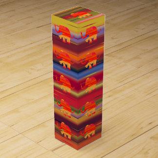 Vibrant Stunning Elephant on Rainbow Pattern Wine Box