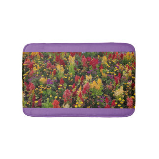Vibrant Summer Flower Garden in Orlando Florida Bath Mats