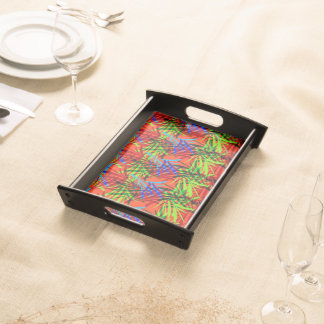 Vibrant Summery Tropical Leafy Abstract Patterned Serving Tray