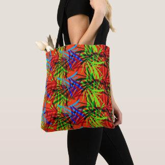 Vibrant Summery Tropical Leafy Print Tote Bag